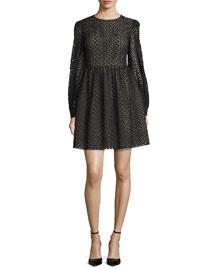 Long-Sleeve Eyelet Mini Dress, Black