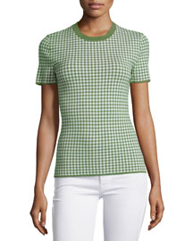 Gingham Short-Sleeve Tee, Lawn