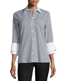 3/4-Sleeve Double-Cuff Striped Shirt, Black/White