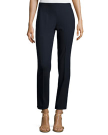 Side-Zip Skinny Ankle Pants, Navy