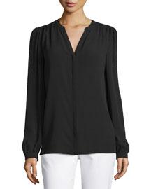 Long-Sleeve Split-Neck Top, Black
