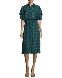 Darlington Ruffle-Sleeve Button-Front Dress, Peacock/Multi