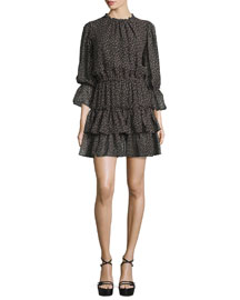 Long-Sleeve Tiered Ruffle Dress, Black/Oleander