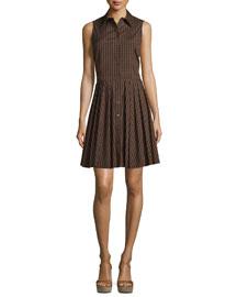 Sleeveless Gingham Button-Front Shirtdress, Black/Nutmeg