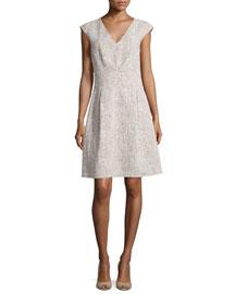 Jackie Cap-Sleeve A-Line Dress, Hemp/White
