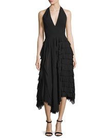 Halter-Neck Tiered-Ruffle Midi Dress, Black