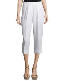 Mid-Rise Slouchy Capri Pants, Optic White