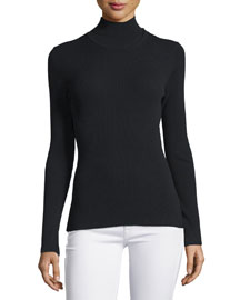 Long-Sleeve Turtleneck Top, Black