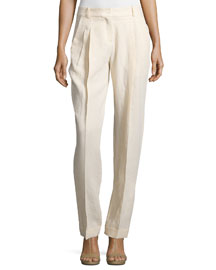 Pleated-Front Tapered Wide-Leg Pants, Muslin