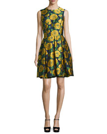 Sleeveless Floral-Print Fit-&-Flare Dress, Indigo/Daffodil