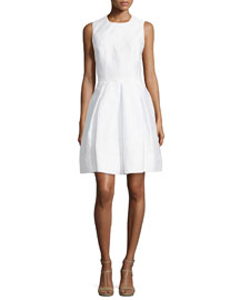 Textured Fit-&-Flare Dress, Optic White