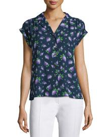 Cap-Sleeve Button-Front Shirt, Indigo, Lilac