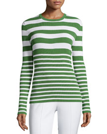 Long-Sleeve Mixed-Stripe Top, Lawn