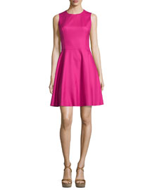 Sleeveless Jewel-Neck Dance Dress, Geranium