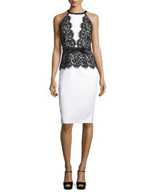 Halter-Neck Lace-Bodice Dress, Optic White