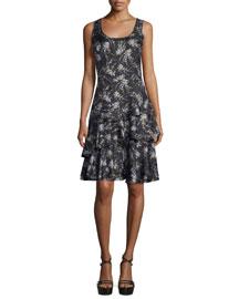 Scoop-Neck Tiered Tank Dress, Black/Leaf