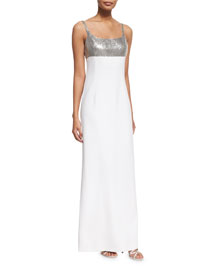 Sequined Tank Gown, Optic White