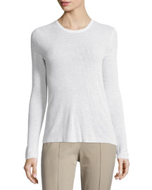 Long-Sleeve Scoop-Neck Top, White
