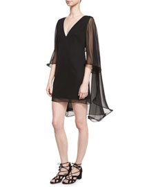 Silk Chiffon V-Neck Cape Dress, Black