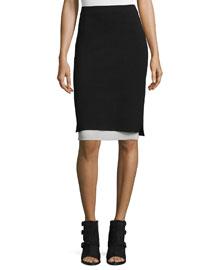 Aimee Layered Pencil Skirt, Black