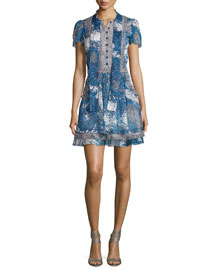 Marisa Beads-Print Babydoll Dress