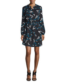 Lindi Long-Sleeve Printed Shirtdress, Balestra Black