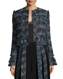 Katrin Fringe-Trim Tweed Jacket, Black/Peacock Multi