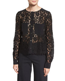 Lotus Lace Combo Blouse, Black