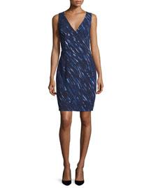 Sleeveless Brushstroke-Print Sheath Dress, Blue