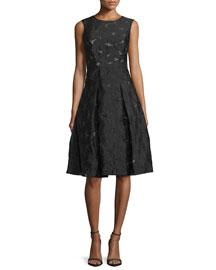 Katia Sleeveless Starburst Fil Coupé Dress, Black