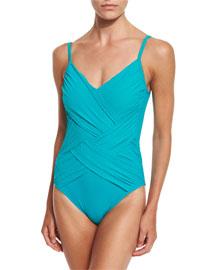 Lattice-Style Folded One-Piece Swimsuit, Peacock