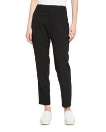 Cropped High-Waist Pants, Black