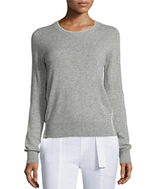 Contrast Tipping Crewneck Sweater, Heather Steel/Off White