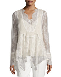 Pintucked Chiffon Lace Blouse, Antique