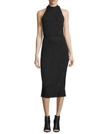 Sleeveless Buttoned Turtleneck Midi Dress, Black