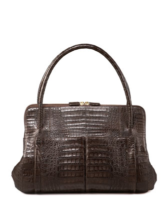 Linda Crocodile Bag, Black