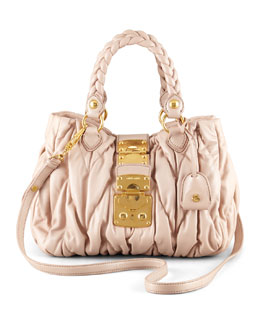 Miu Miu Mattelasse Coffer Tote Bag, Small