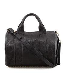 Rocco Stud-Bottom Satchel Bag, Brass
