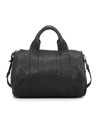 Rocco Stud-Bottom Satchel Bag, Black/Nickel