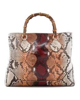 Gucci Diana Bamboo-Handle Python Tote Bag