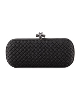 Bottega Veneta Woven Faille Large Knot Clutch Bag