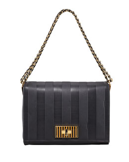 Fendi Pequin Tonal Stripe Shoulder Bag