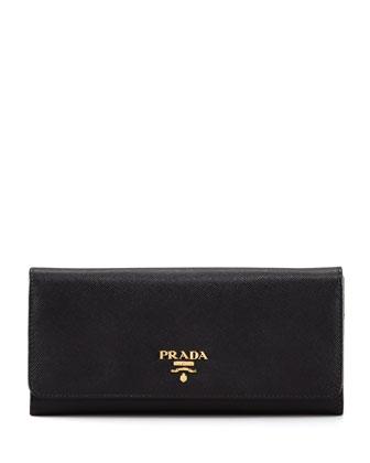 Saffiano Flap Wallet, Black (Nero)