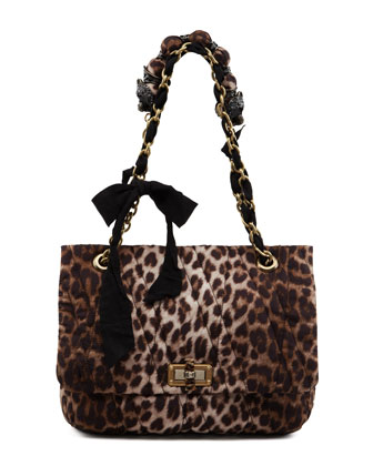 Leopard-Print Happy Shoulder Bag