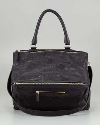 Pandora Large Leather Satchel Bag, Black