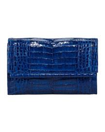 Front-Flap Crocodile Bar Clutch Bag