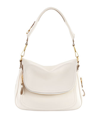 Jennifer Large Leather Shoulder Bag, Ivory