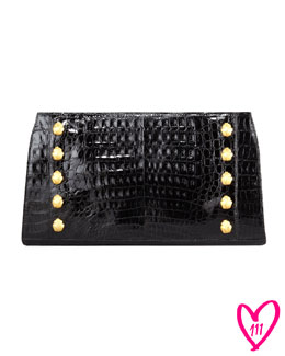 Nancy Gonzalez BG 111th Anniversary Studded Crocodile Clutch Bag