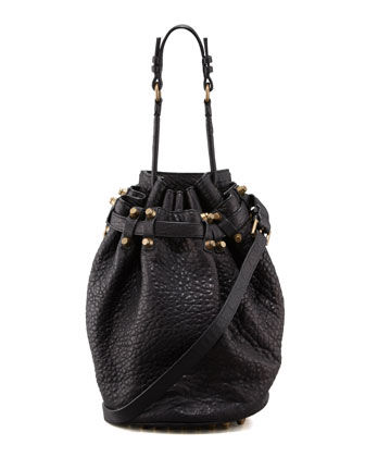 Diego Bucket Bag, Black/Rose Golden