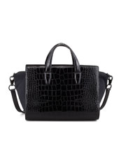 Alexander Wang Pelican Crocodile-Embossed Satchel Bag, Black